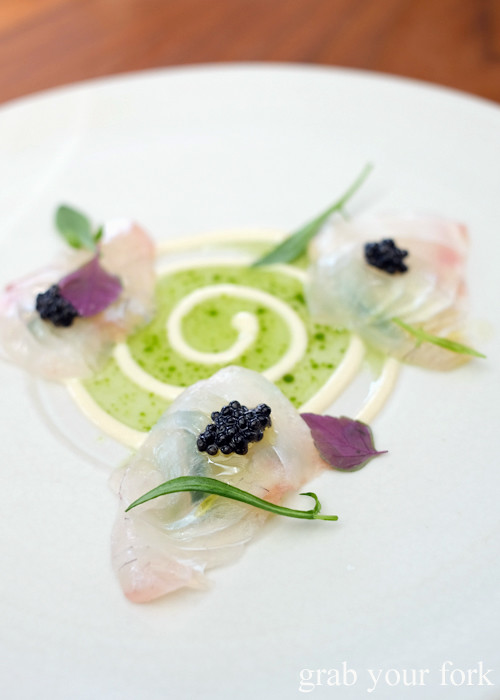 Snapper with roe emulsion and Calvius oscietra caviar at LuMi Dining in Pyrmont Sydney