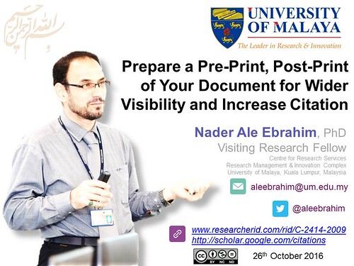 Prepare a Pre-Print, Post-Print of Your Document for Wider Visibility and Increase Citation - 2016