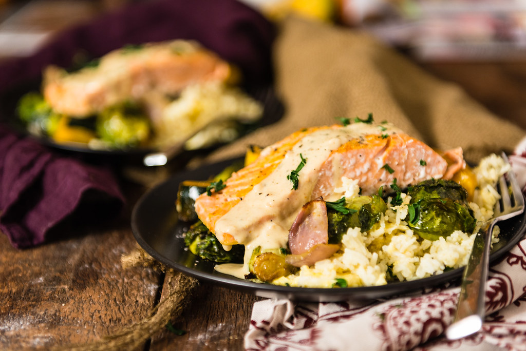 Seriously good comfort food recipe! Curry Roasted Salmon & Veggies with Tahini Sauce over Basmati