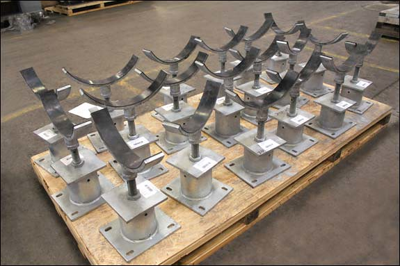 Adjustable pipe stands designed for a crude oil terminal