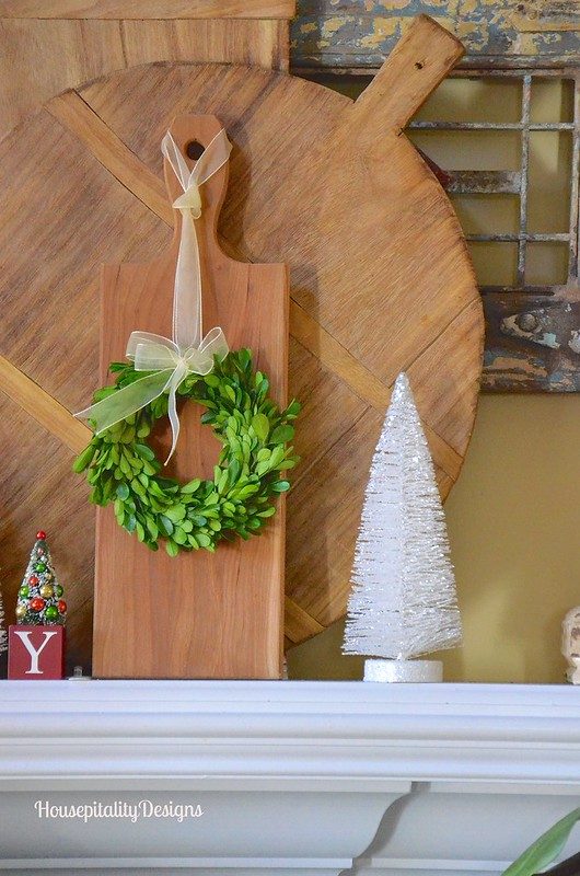 Christmas Mantel 2016 - Breadboards - Magnolia Wreath - Magnolia Garland - Boxwood Wreath - Housepitality Designs