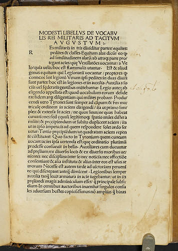 Modestus [pseudo-]: De vocabulis rei militaris - Marginal annotations