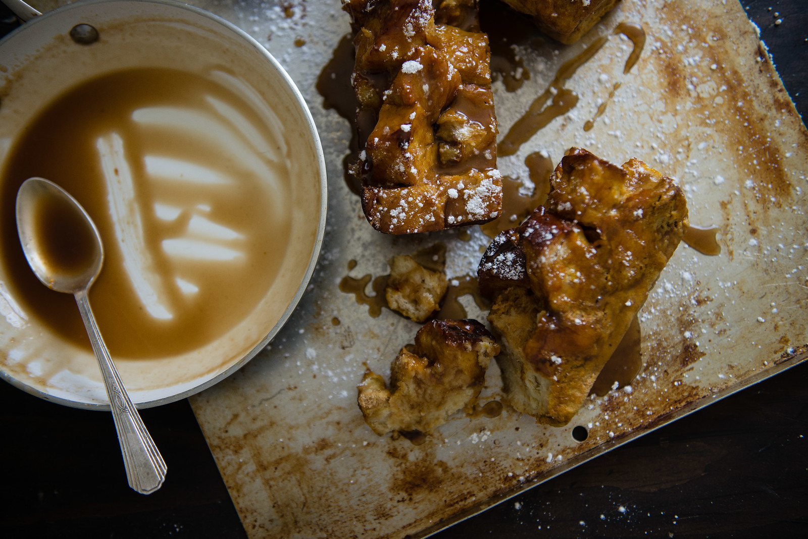 kabocha & maple caramel baked french toast | two red bowls