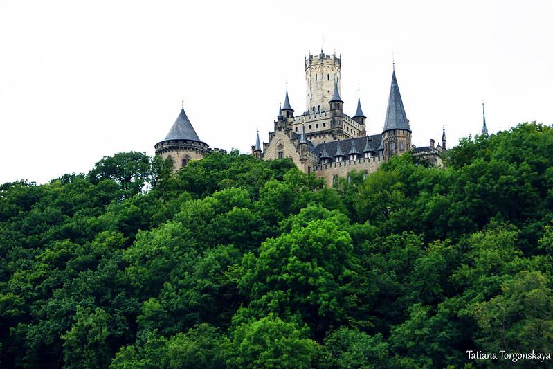 Замок Мариенбург, возвышающийся над лесом