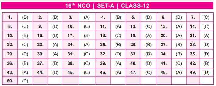 NCO Answer Key SET A Class 12