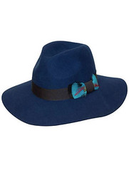 Blue felt Fedora hat with feather detail