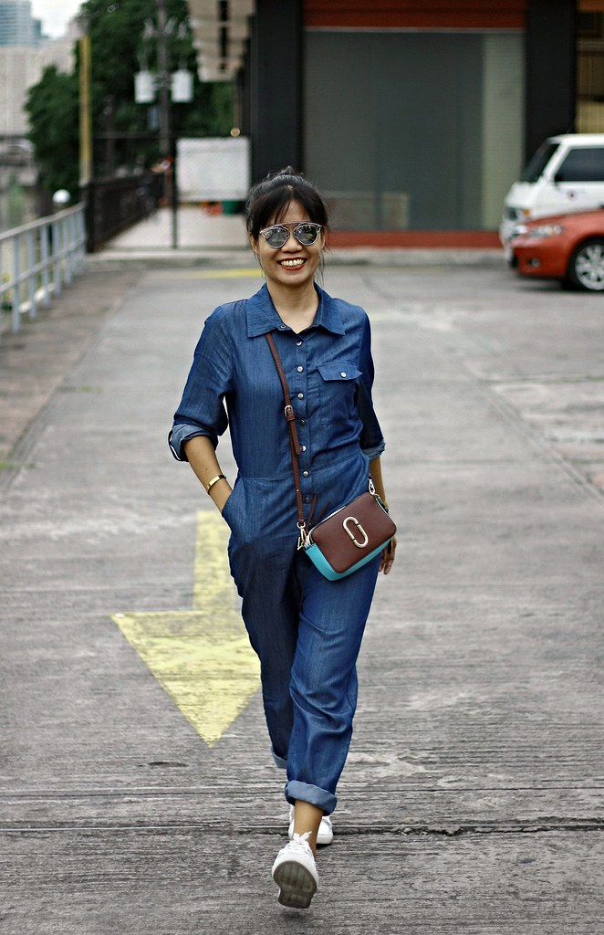 denim, denim jumpsuit, jumpsuit, irisie, crossbody bag