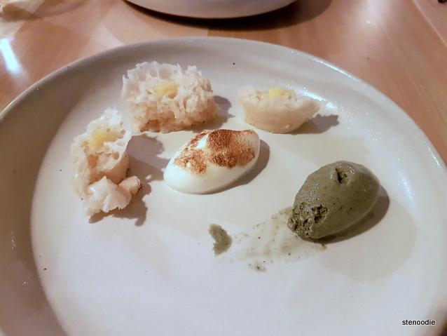 Mugwort ice cream, redbean sponge cake, yuzu curd