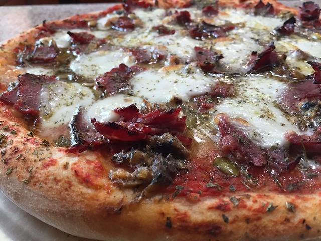 Pastrami/Sardine/Pepitas Pizza