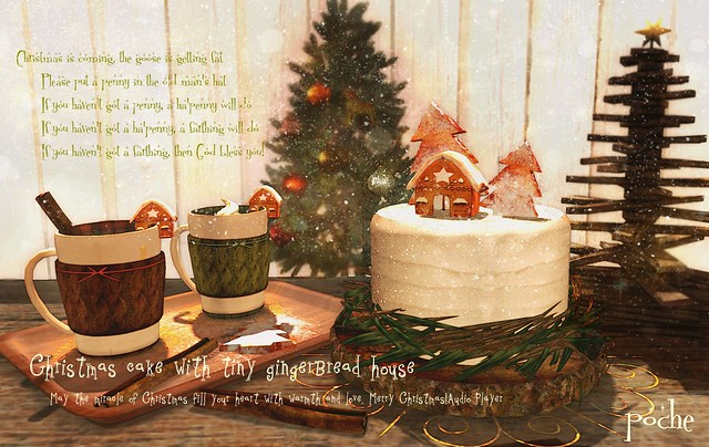 Christmas cake with tiny gingerbread house