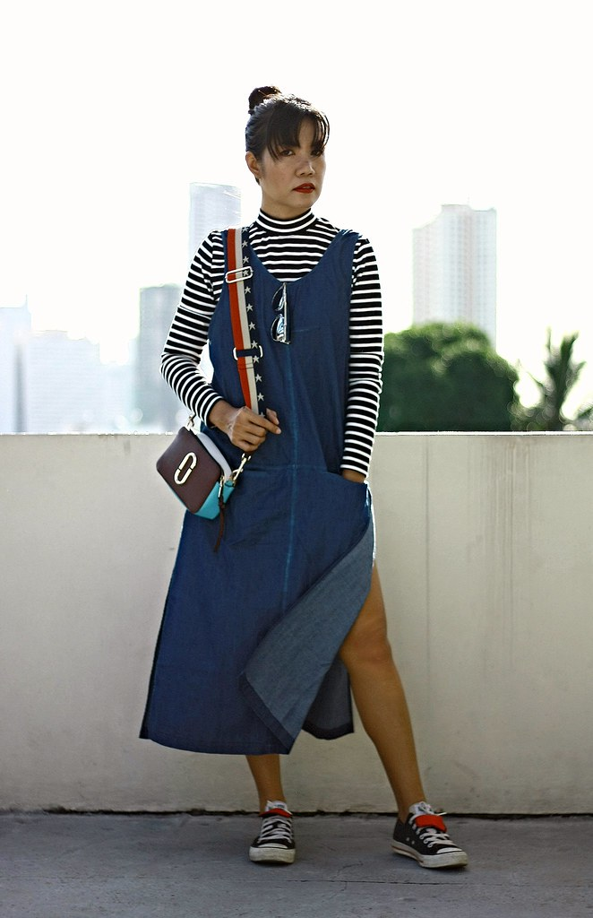 denim dress, stripes, striped top, denim