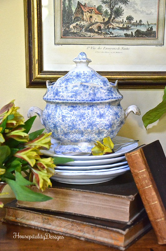 Blue and White Transferware Sugar Bowl - Housepitality Designs