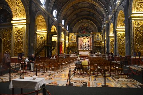 Das vergoldete Mittelschiff der Johannes Kathedrale in Valetta
