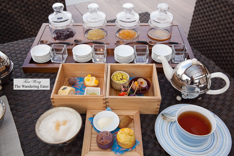 Spread of Okinawa style afternoon tea