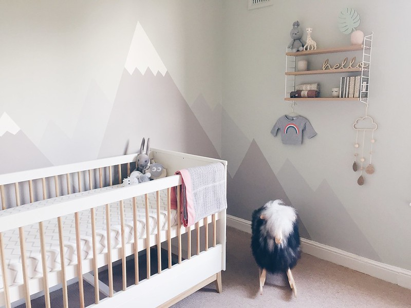pastel mountain mural nursery
