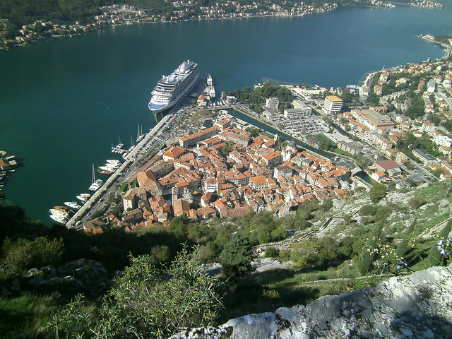 Old Town with a cruise ship in port Kotor Montenegro