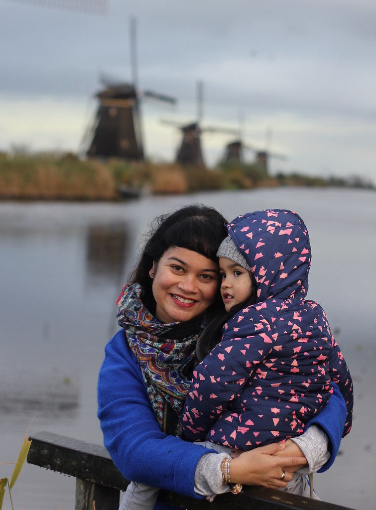 Mama and Tala at the Kinderdijk windmills