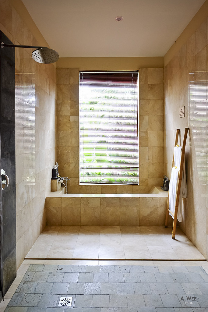 Shower and sunken bathtub
