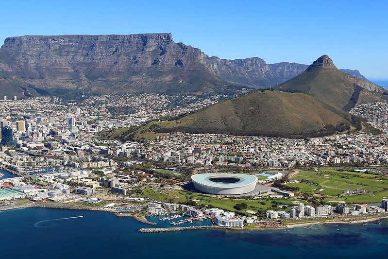 Cape Town South Africa Helicopter View Table Mountain Lion's Head