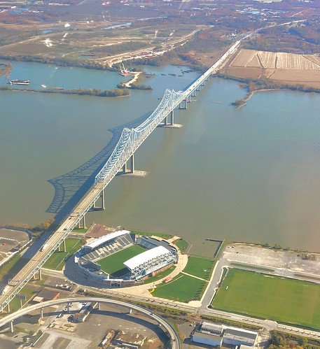 Philadelphia Union home Talen Energy Stadium and Commodore Barry Bridge.