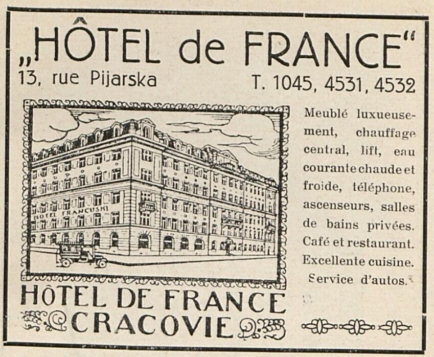 Ancienne publicité pour l'Hotel de France de Cracovie dans les années 1930.