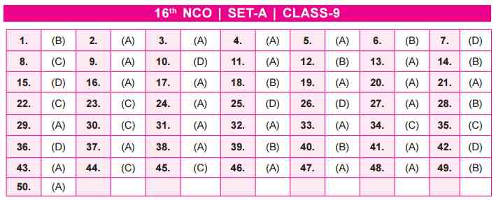 NCO Answer Keys SET A Class 9