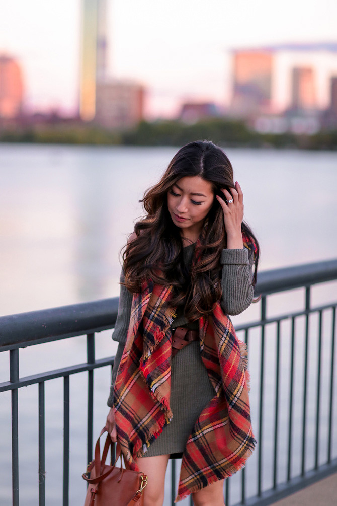 sweater dress plaid blanket scarf fall outfit boston