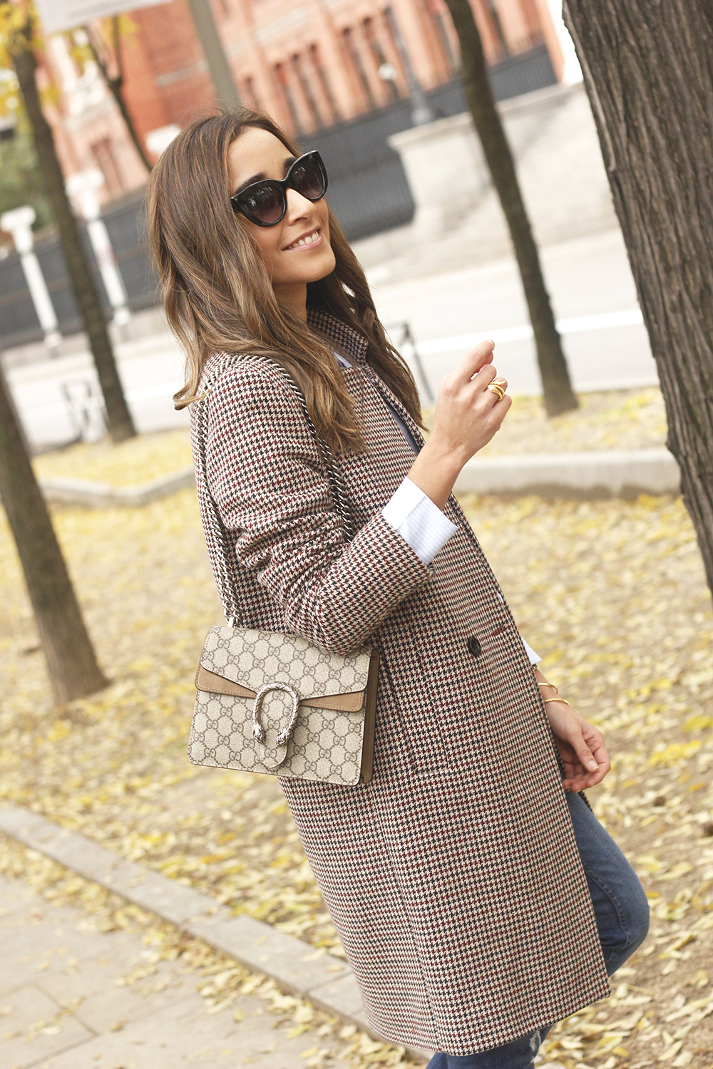 Houndstooth Coat striped shirt burgundy uterqüe heels gucci bag outfit style fashion09