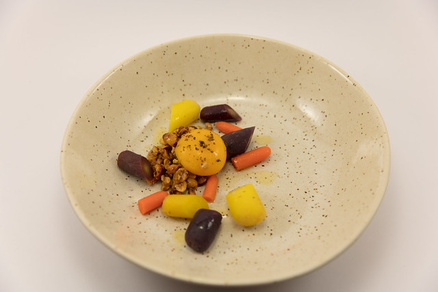 Fudgy Yolk with Hazelnut Crumble, Lemon and Carrots