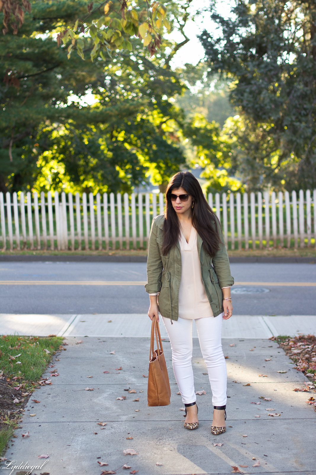 blush pink blouse, field jacket, white jeans, leopard pumps.jpg
