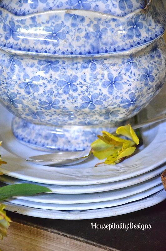 Blue and White Transferware Sugar Bowl - Housepitality Designs
