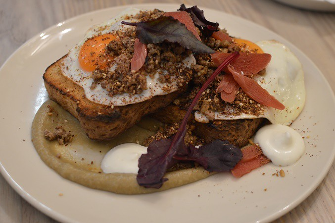 Minced lamb fry up eggplant, fried eggs, pickled rhubarb, smoked yoghurt, pine nut dukkah, sourdough