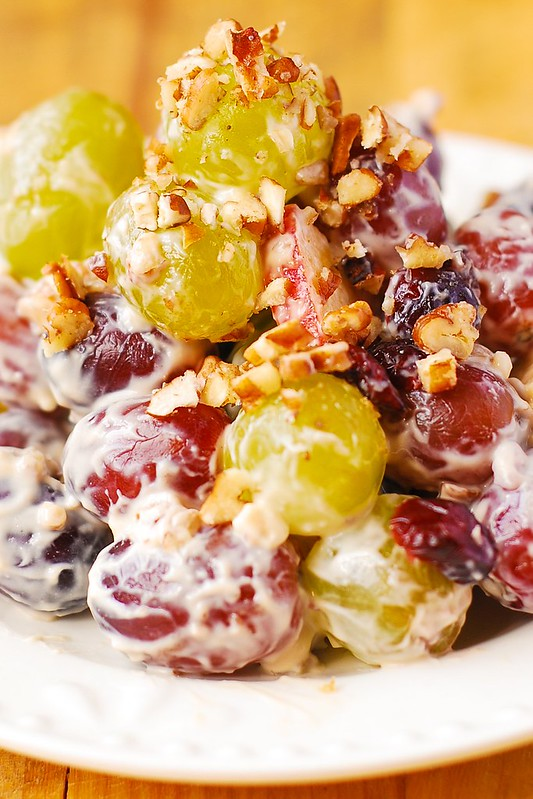 Autumn salad, Fall Salad, Winter fruit salad, grapes, apples, pecans, brown sugar, cranberries, cream cheese