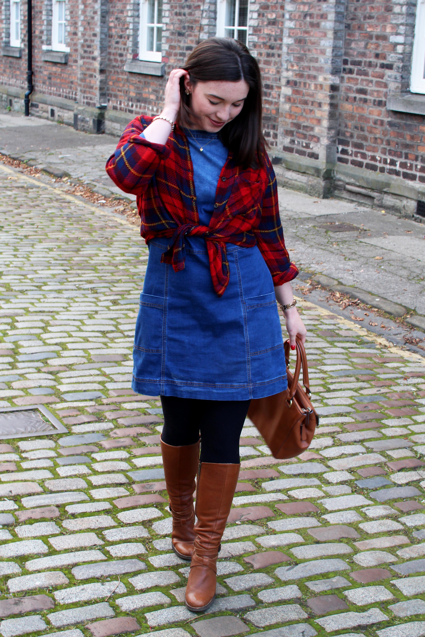 Fashion blogger UK Edinburgh Scotland The Little Things Autumn Fall Denim Dress Plaid