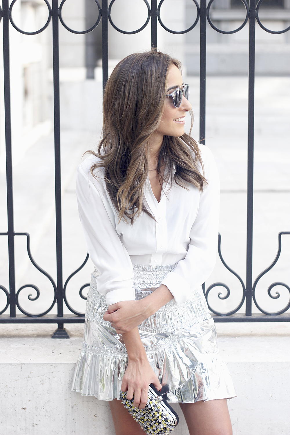 Isabel Marant Metallic Skirt white shirt nude sandals dior so real sunnies outfit style fashion11