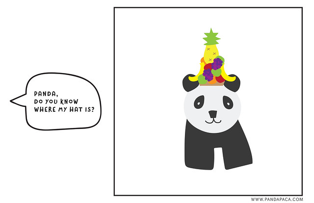#1, Panda, Do you know where my hat is? pandapaca.com