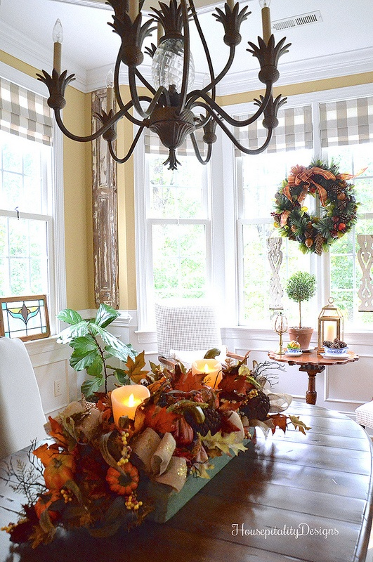 Fall Dining Room - Fall Centerpiece - Fall Wreath - Housepitality Designs