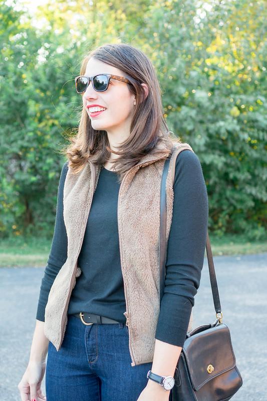 black sweater + fleece fur vest + jeans + leopard print loafers | Style On Target blog