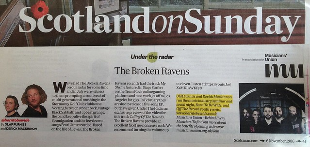 Scotland On Sunday, 6 November 2016, The Broken Ravens
