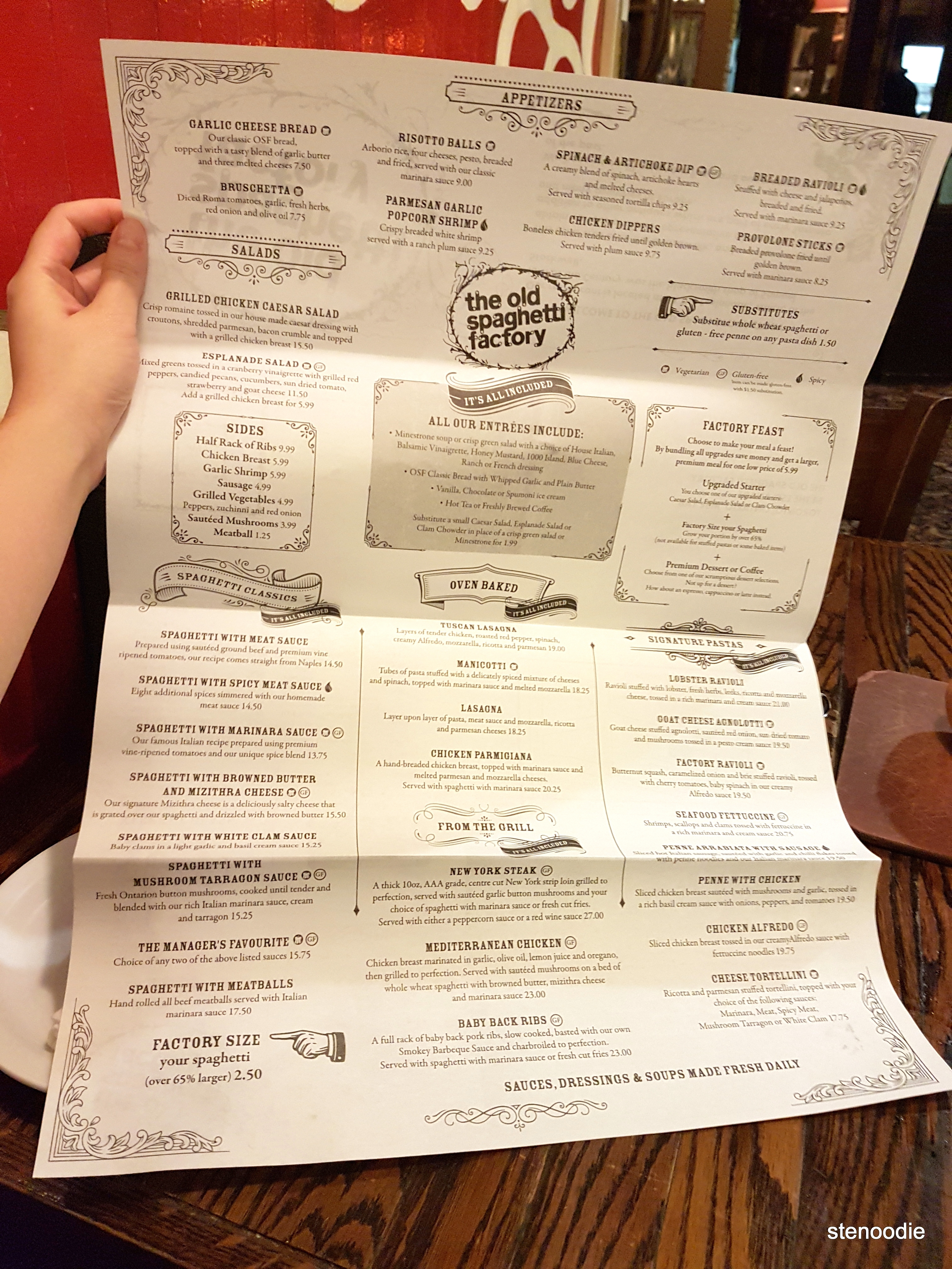 The Old Spaghetti Factory dinner menu
