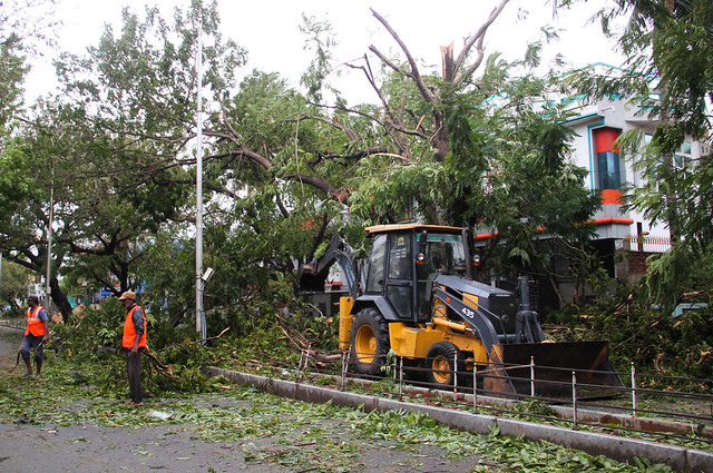 Disaster response personnel and corporation staff got down to business as soon as the winds mellowed down. With most roads blocked by fallen trees and mangled electric posts, clearing work is expected to continue for a few more days.