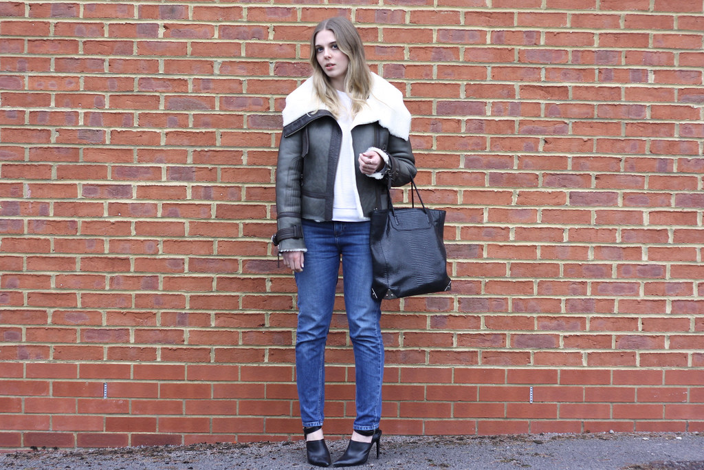 Topshop Unique khaki aviator jacket, Whistles boyfriend jeans and Zara black heels