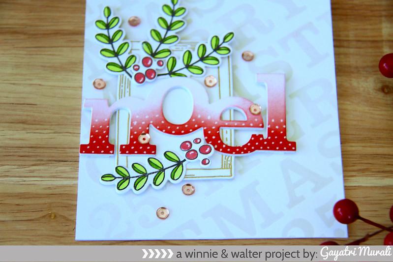 Red Noel card closeup