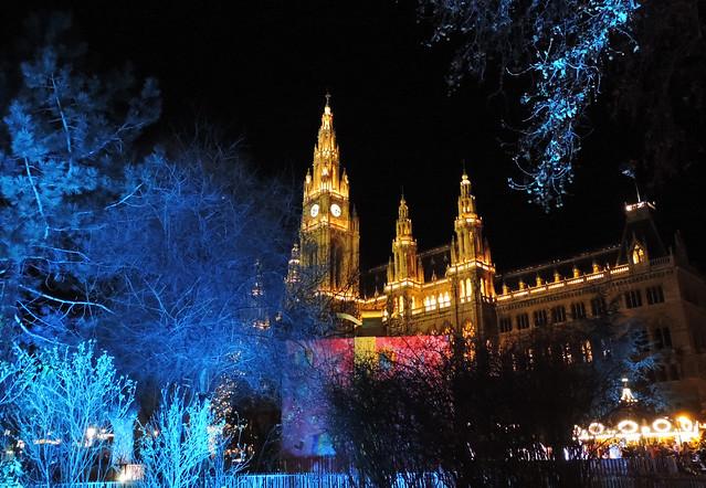 Merry Christmas: City Hall, Vienna, Austria