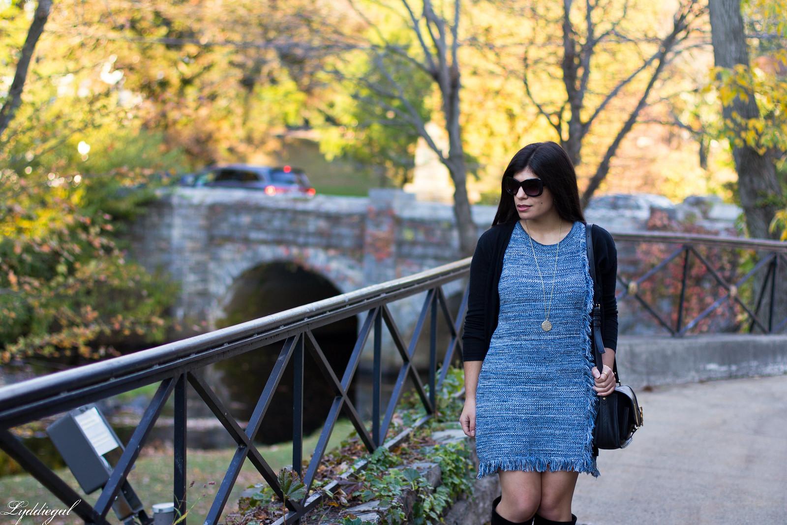 blue knit dress, black cardigan, black suede boots-2.jpg