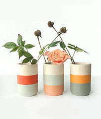 Shade on Shape wooden painted vases