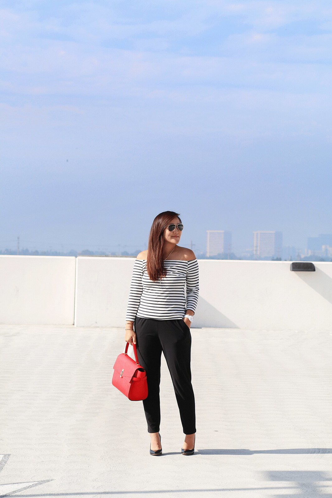 simplyxclassic, henri bendel uptown satchel, red bag, striped off the shoulder top, fashion blogger, orange county