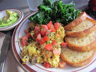 Cheesy Scramble with Kale and Toast; Side of Avocado at Wayward