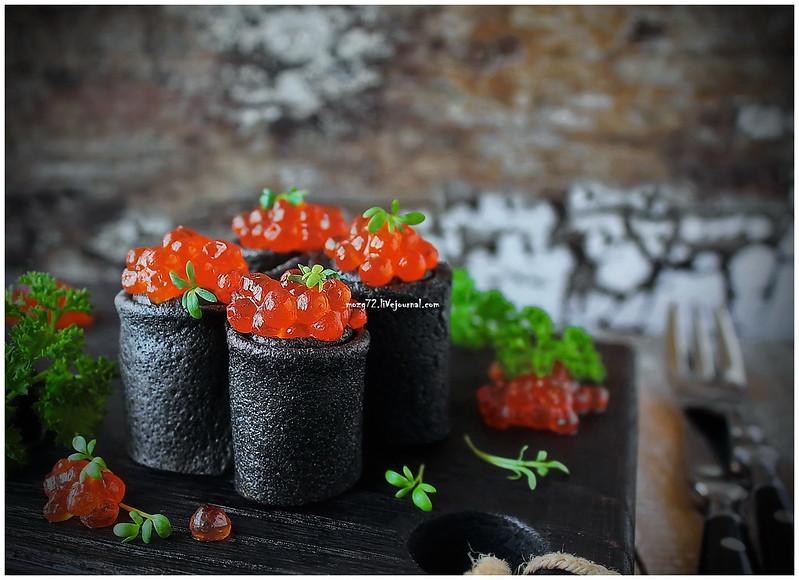 ...black pancakes red caviar