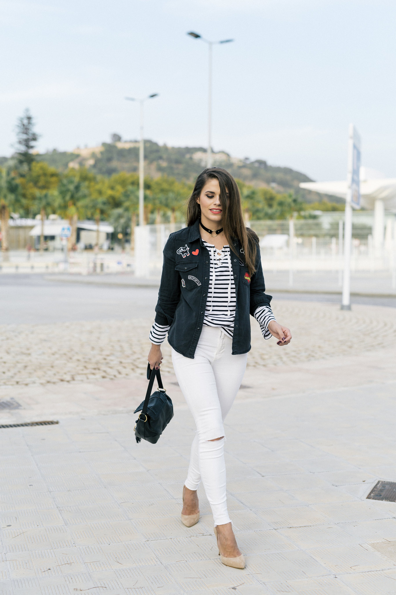 Jessie Chanes Seams for a desire - stripped long sleeves tshirt white jeans-3